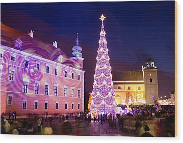 Christmas Tree In Warsaw Old Town Wood Print by Artur Bogacki