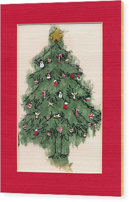 Christmas Tree With Red Mat Wood Print by Mary Helmreich