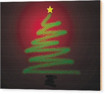 Christmas Tree With Star Wood Print by Genevieve Esson