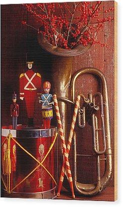 Christmas Tuba Wood Print by Garry Gay