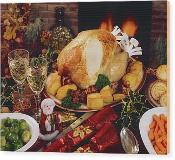 Christmas Turkey Dinner With Wine Wood Print by The Irish Image Collection