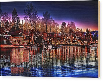 Christmas Twilight Wood Print by Cary Shapiro