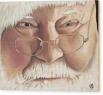 Christmas Twinkle Santa Wood Print by Patty Vicknair