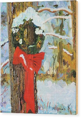 Wood Print featuring the painting Christmas Wreath by Michael Daniels