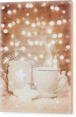 Christmastime Coffee Wood Print by Anna Om