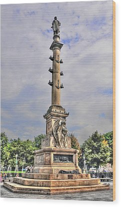 Christopher Columbus Monument At Columbus Circle In Manhattan Wood Print by Randy Aveille