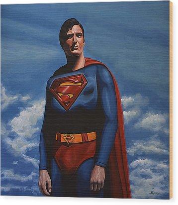 Christopher Reeve As Superman Wood Print by Paul Meijering
