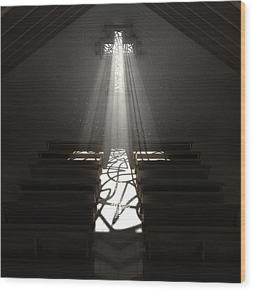 Christ's Light In The Dark Wood Print by Allan Swart