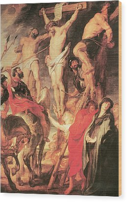 Christ's Side Pierced With A Lance Wood Print by Peter Paul Rubens