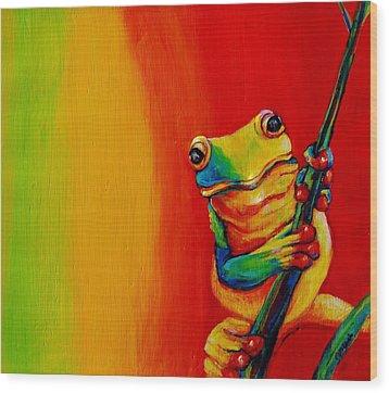 Chroma Frog Wood Print