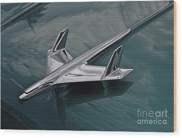 Chrome Airplane Hood Ornament Wood Print