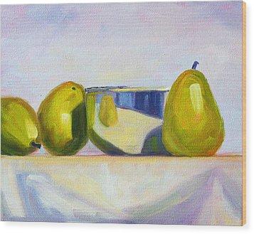 Chrome And Pears Wood Print by Nancy Merkle