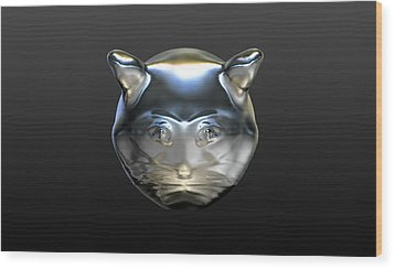 Chrome Cat Wood Print by Stacy C Bottoms