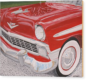 Chrome King 1956 Bel Air Wood Print by Vicki Maheu