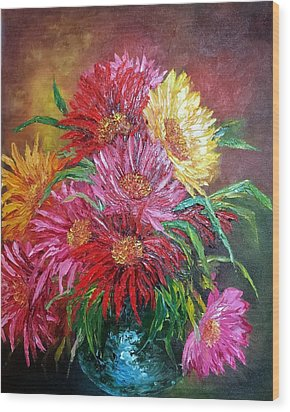 Chrysanthemum Wood Print by Katia Aho