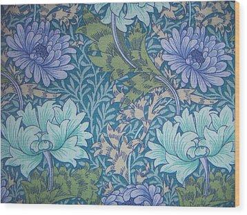Chrysanthemums In Blue Wood Print by William Morris