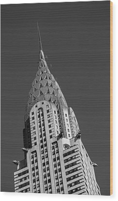 Chrysler Building Bw Wood Print by Susan Candelario