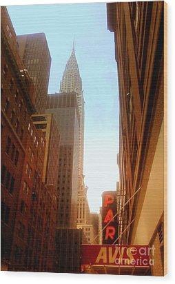 Chrysler Building Rises Above New York City Canyons Wood Print by Miriam Danar