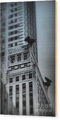 Chrysler In Blue Wood Print by Miriam Danar
