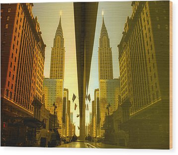 Chrysler Reflection On 42nd Street Wood Print by Dave Beckerman