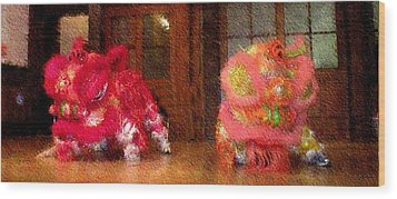 Chua Truc Lam Two Dragons - Fine Brush Wood Print by Shawn Lyte