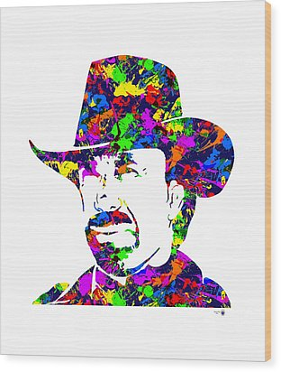Chuck Norris Paint Splatter Wood Print