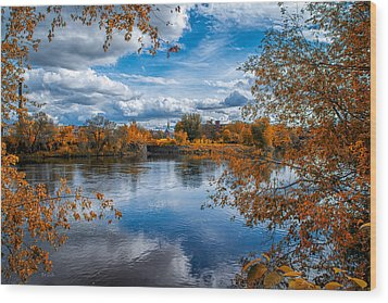 Church Across The River Wood Print by Bob Orsillo