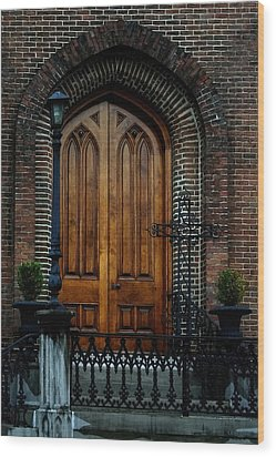 Church Arch And Wooden Door Architecture Wood Print by Lesa Fine