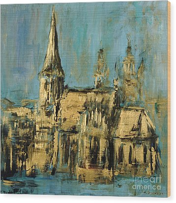 Wood Print featuring the painting Church by Arturas Slapsys
