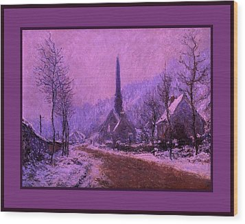 Church At Jeufosse Snowy Weather Enhanced Triple Border Wood Print by Claude Monet - L Brown