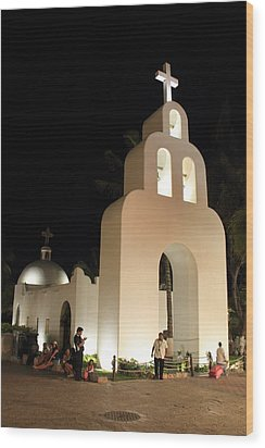 Church At Night In Playa Del Carmen Wood Print