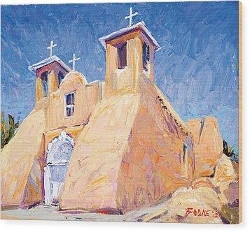 Church At Taos Wood Print by Steven Boone