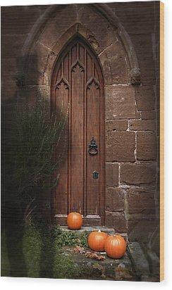 Church Door At Halloween Wood Print by Amanda Elwell