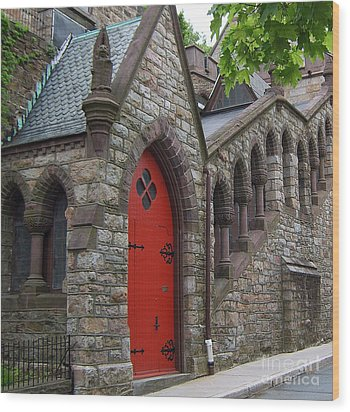 Church Door Wood Print by Val Miller