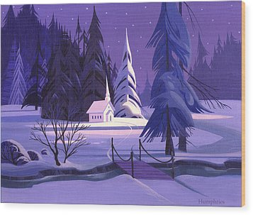 Church In Snow Wood Print by Michael Humphries