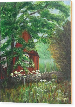Church In The Glen Wood Print by Laurie Morgan