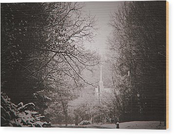 Church In The Snow  Wood Print by Debra Crank