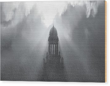 Church In The Storm Wood Print