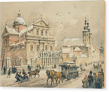 Church Of St Peter And Paul In Krakow Wood Print by Stanislawa Kossaka