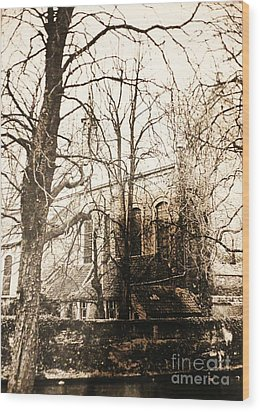 Church On Canal In Brugge Belgium Wood Print by PainterArtist FIN