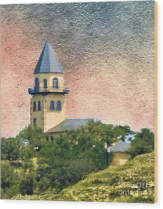 Church On Hill Wood Print