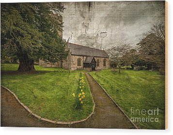 Church Path Wood Print by Adrian Evans