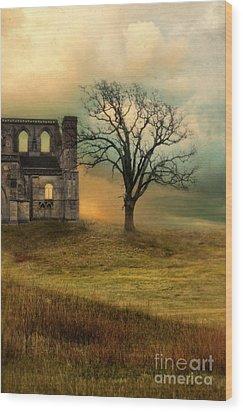 Church Ruin With Stormy Skies Wood Print by Jill Battaglia