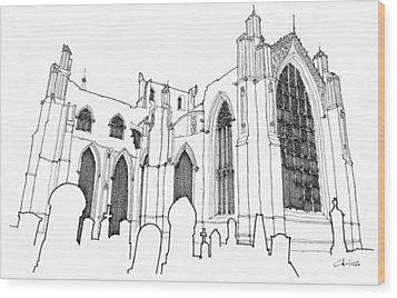 Church Ruins Wood Print by Calvin Durham