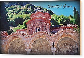Church Ruins In Greece Wood Print by John Malone