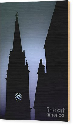 Church Spire At Dusk Wood Print