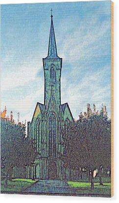Church Steeple At Sunrise Wood Print
