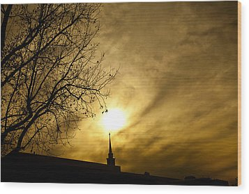 Wood Print featuring the photograph Church Steeple Clouds Parting by Jerry Cowart