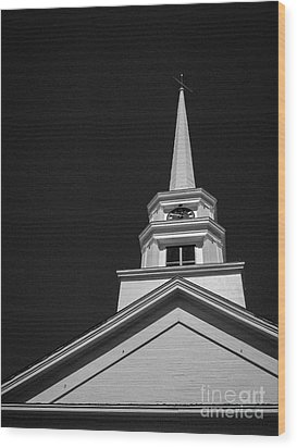 Church Steeple Stowe Vermont Wood Print by Edward Fielding