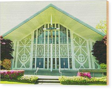 Wood Print featuring the photograph Church Sunburst by Laurie Tsemak